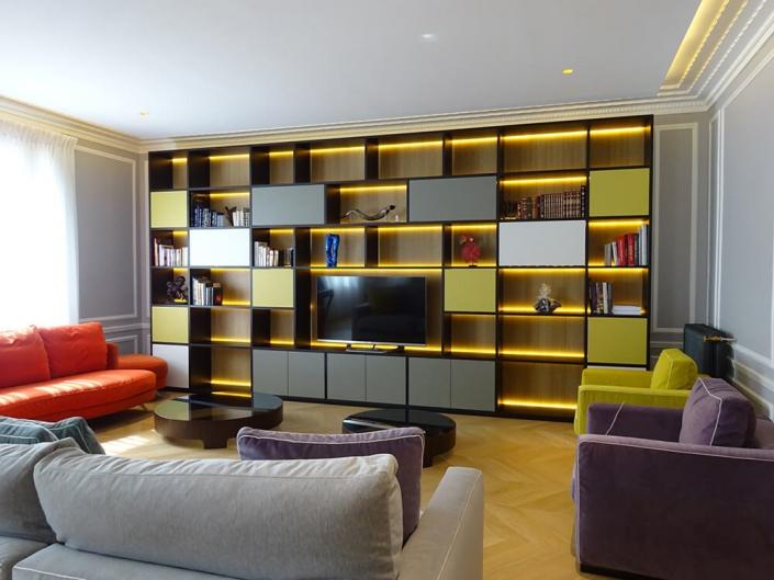 Agencement meuble TV éclairage LED - JP Menuiserie